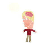 Cartoon man with brain symbol with thought bubble Royalty Free Stock Photo