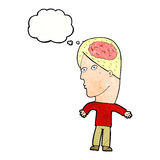 Cartoon man with brain symbol with thought bubble Stock Image