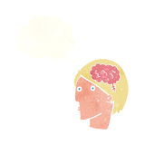 Cartoon man with brain symbol with thought bubble Stock Images