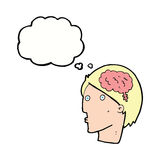 Cartoon man with brain symbol with thought bubble Royalty Free Stock Images