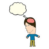 Cartoon man with brain symbol with thought bubble Stock Photography