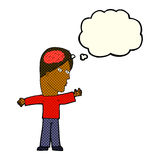 Cartoon man with brain with thought bubble Stock Photography