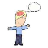 Cartoon man with brain with thought bubble Stock Photos
