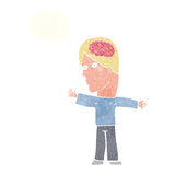 Cartoon man with brain with thought bubble Royalty Free Stock Image