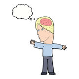 Cartoon man with brain with thought bubble Stock Image