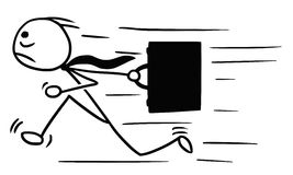 Cartoon of Man with Briefcase Running, Maybe Late for Work. Cartoon vector doodle stickman running with briefcase, maybe late for work Royalty Free Stock Photo