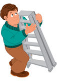 Cartoon man with brown hair in green sweater holding ladder Stock Photography