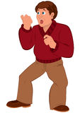 Cartoon man with brown hair in red sweater with open mouth Royalty Free Stock Photos