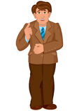 Cartoon man in brown jacket and brown pants holds finger up Stock Photography