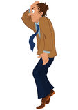 Cartoon man in brown jacket standing on tiptoe. Illustration of cartoon male character isolated on white. Cartoon man in brown jacket standing on tiptoe Stock Image