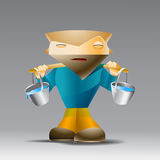 Cartoon man with buckets of water. Stock Images