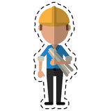 Cartoon man building construction plans helmet Stock Images