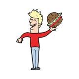 Cartoon man with burger Stock Photos