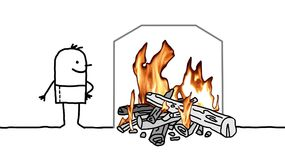 Cartoon Man with a Burning Fire at Home. Vector Cartoon Man with a Burning Fire at Home Royalty Free Stock Photo