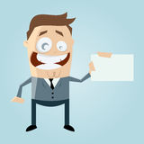 Cartoon man with business card Royalty Free Stock Image