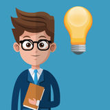 Cartoon man business creative bulb folder glasses Stock Photo