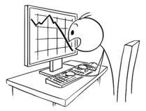 Cartoon of Man or Businessman Watching in Panic Falling Graph or Chart on Computer Screen. Cartoon stick drawing conceptual illustration of man or businessman stock illustration