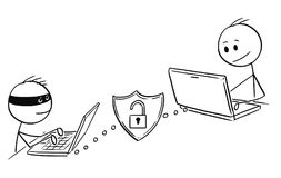 Cartoon of Man or Businessman Working on Computer While Hacker is Breaching Week Password. Cartoon stick man drawing conceptual illustration of businessman Stock Photo