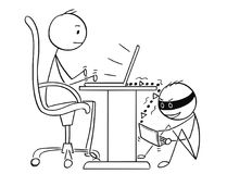 Cartoon of Man or Businessman Working on Computer While Hacker is Stealing His Data. Cartoon stick man drawing conceptual illustration of businessman working on Stock Photography