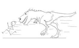 Cartoon of Man or Businessmen Running Away From Monster Tyrannosaurus or Dinosaur Godzilla Creature. Cartoon stick man drawing conceptual illustration of Royalty Free Stock Images