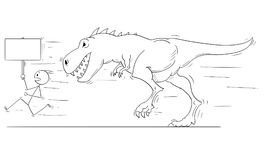 Cartoon of Man or Businessmen Running Away From Monster Tyrannosaurus or Dinosaur Godzilla Creature. Cartoon stick man drawing conceptual illustration of Royalty Free Stock Photography