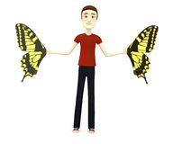 Cartoon man with butterfly wings Stock Image