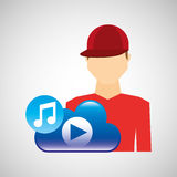 Cartoon man cap cloud music play Stock Photos