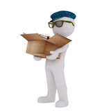 Cartoon Man in Cap and Glasses with Box of Books Stock Photo