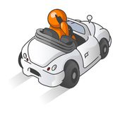 Cartoon of man in car Stock Image