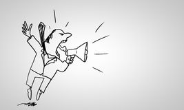 Cartoon of man. Caricature of angry businessman screaming in megaphone on white background Stock Photos