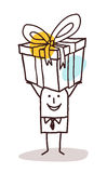 Cartoon man carrying a big gift package Stock Images