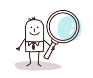 Cartoon man carrying a large magnifying glass royalty free stock photography