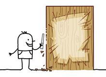 Cartoon Man Carving a Wood Blank Board Stock Photo