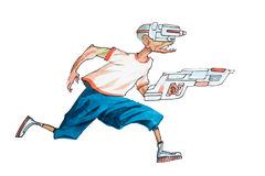 Cartoon man in casual clothes with futuristic glasses and weapon running chasing someone Royalty Free Stock Image