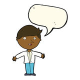 cartoon man in casual jacket with speech bubble Stock Image