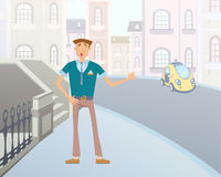 Cartoon man catches a taxi on a city street. Vector illustration. Stock Photography