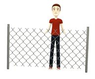 Cartoon man with chain fence Stock Photography