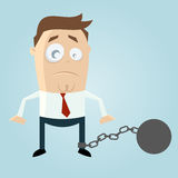 Cartoon man in chains Royalty Free Stock Photography