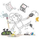 Cartoon man chaos multitasking Stock Images