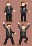 Cartoon Man Character Happy and Excitement Gestures. Smiling cartoon young man wearing brown shirt, black jacket and trousers in poses and gestures that suggest Royalty Free Stock Image