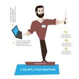 Cartoon man character with laptop and tool Royalty Free Stock Photos