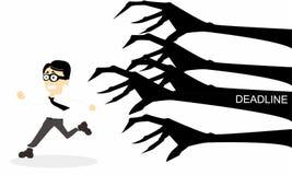 Cartoon a man chased deadline. Cartoon about a man chased deadline Stock Photo