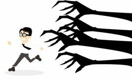 Cartoon a man chased monster. & he look like afraid Stock Photos