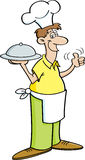 Cartoon man in a chef's hat holding a platter. Royalty Free Stock Images
