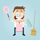 Cartoon man with cleaning equipment Stock Photography