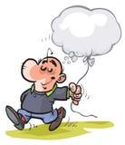 Cartoon Man clutching his Idea. Royalty Free Stock Photography