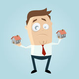 Cartoon man comparing houses Stock Photo
