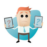 Cartoon man is comparing mobile phones. Illustration of a cartoon man who is comparing mobile phones Stock Photography