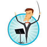 Cartoon man conducting an orchestra Stock Photos