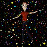 Cartoon man with confetti Royalty Free Stock Images
